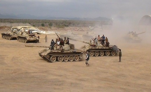 Southern People's Resistance militants loyal to Yemen's President Abd-Rabbu Mansour Hadi move tanks from the al-Anad air base in the country's southern province of Lahej