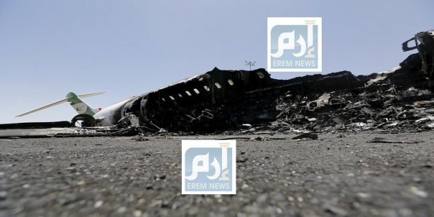 Felix Airways plane lies after it was destroyed by an air strike at the international airport of Yemen's capital Sanaa
