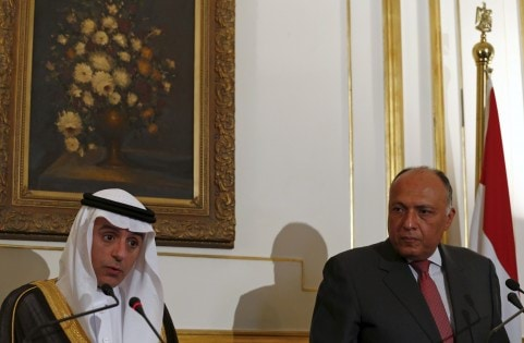 Egypt's Foreign Minister Sameh Shukri listens as his Saudi Arabian counterpart Adel al-Jubeir speaks, during their conference at the foreign affairs headquarters in Cairo, Egypt