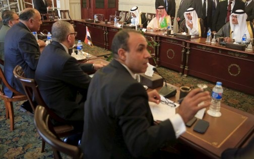 Egypt's Foreign Minister Sameh Shukri meets with his Saudi Arabian counterpart Adel al-Jubeir at the foreign affairs headquarters in Cairo, Egypt