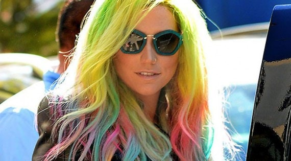 Ke$ha steps out with multicolored hair, a biker jacket and bright green wedge sneakers in NoHo, NYC