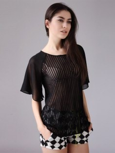 Women-Sheer-Blouses-Black-Patchwork-Striped-Tees-Transparent-Sexy-Shirts-Short-Flare-Sleeves-Casual-Ruffles-T