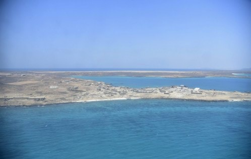 General view shows Perim Island, called Mayun in Arabic, in the Bab al-Mandeb which residents said was seized from Houthi fighters by loyalist Yemeni troops and Gulf Arab forces