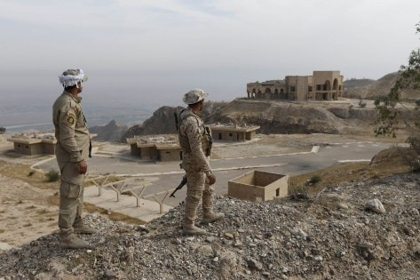 Shi'ite fighters look at former Iraqi president Saddam Hussein's palace at Makhoul mountains, north of Baiji
