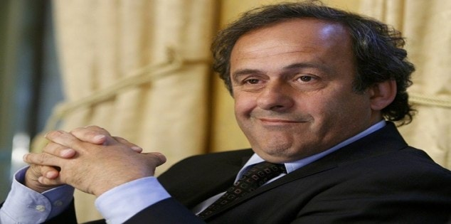 File photo of Michel Platini smiling during a news conference at the Geneva Press Club in Geneva