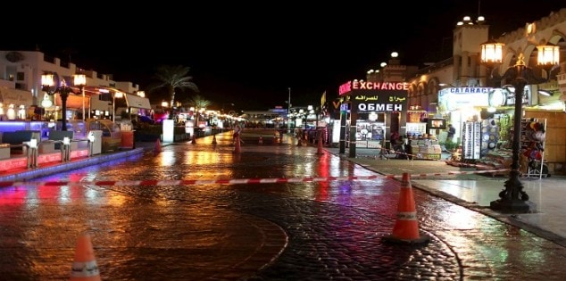 The walking area of Naama bay is seen nearly empty at the Red Sea resort of Sharm el-Sheikh