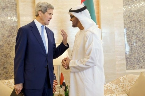 U.S. Secretary of State John Kerry (L) meets with Abu Dhabi Crown Prince Mohammed bin Zayed Al Nahyan at the Mina Palace in Abu Dhabi, United Arab Emirates