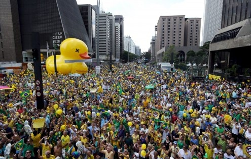 Demonstrators attend a protest calling for the impeachment of Brazil's President Dilma Rousseff at Paulista Avenue in Sao Paulo