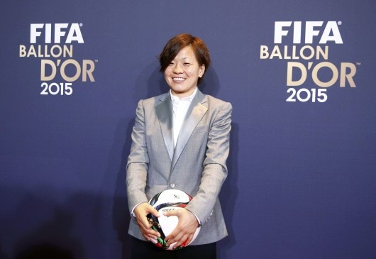 Okayama Yunogo Belle's Miyama of Japan arrives for Ballon d'Or 2015  in Zurich