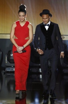 FFC Frankfurt's Sasic of Germany arrives on stage with FC Barcelona's Neymar of Brazil during the FIFA Ballon d'Or 2015 awards ceremony in Zurich
