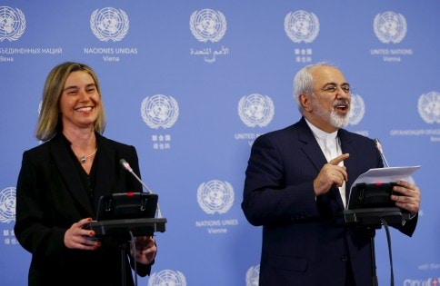 Iranian FM Zarif and the High Representative of the European Union for Foreign Affairs and Security Policy Mogherini address a news conference at the United Nations building in Vienna, Austria