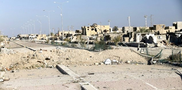 Destroyed buildings are seen in the city of Ramadi