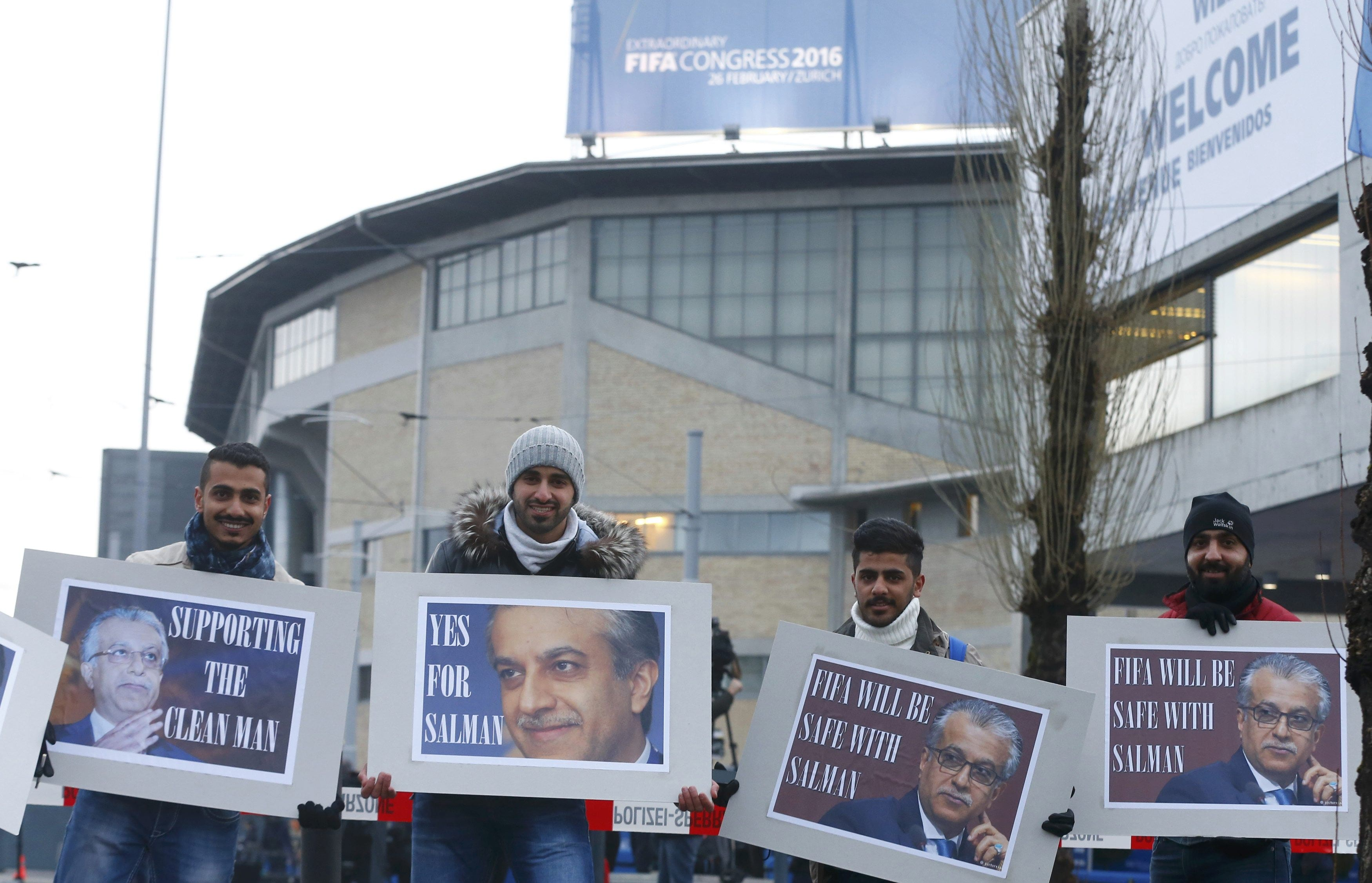 Supporters of FIFA presidential candidate Al-Khalifa show support outside the Extraordinary Congress in Zurich