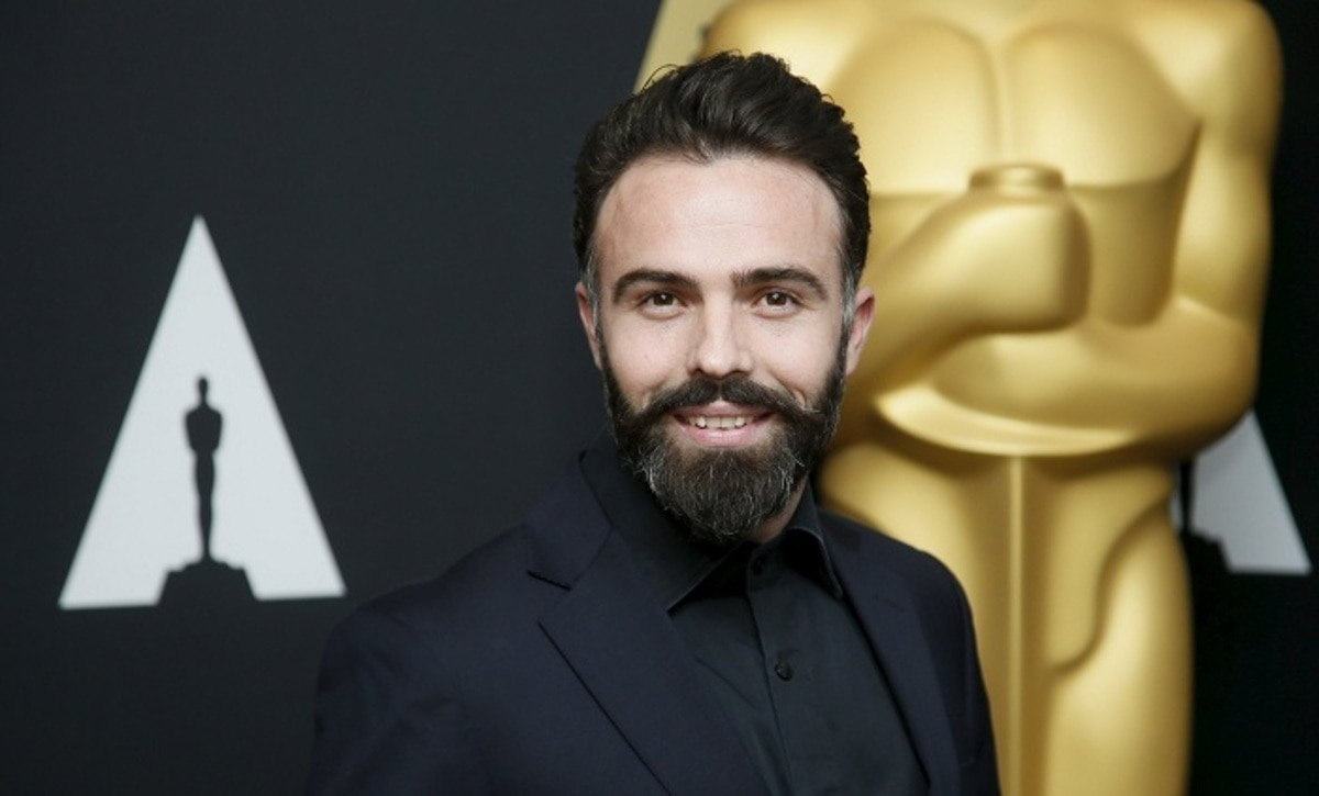 """Producer Eshref Durmishi from the Oscar-nominated short film (live action) """"Shok"""" poses at a reception ahead of the upcoming 88th Academy Awards ceremony in Beverly Hills"""