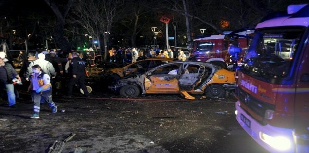 Emergency workers work at the explosion site in Ankara