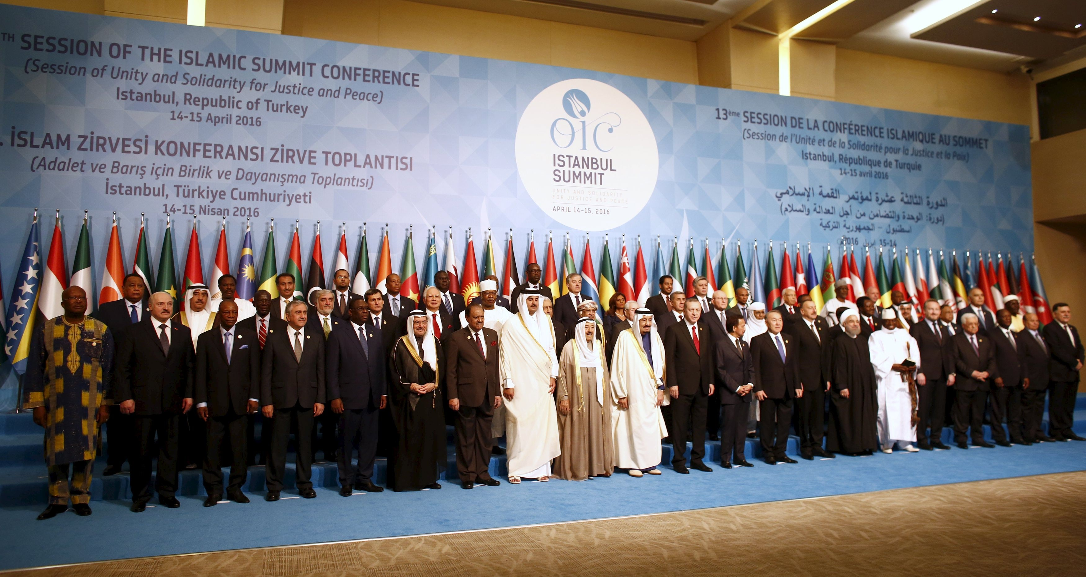 Leaders and representatives of the Organisation of Islamic Cooperation (OIC) member states pose for a group photo during the Istanbul Summit in Istanbul