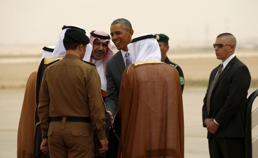 U.S. President Barack Obama is greeted upon his arrival at King Khalid International Airport for a summit meeting in Riyadh