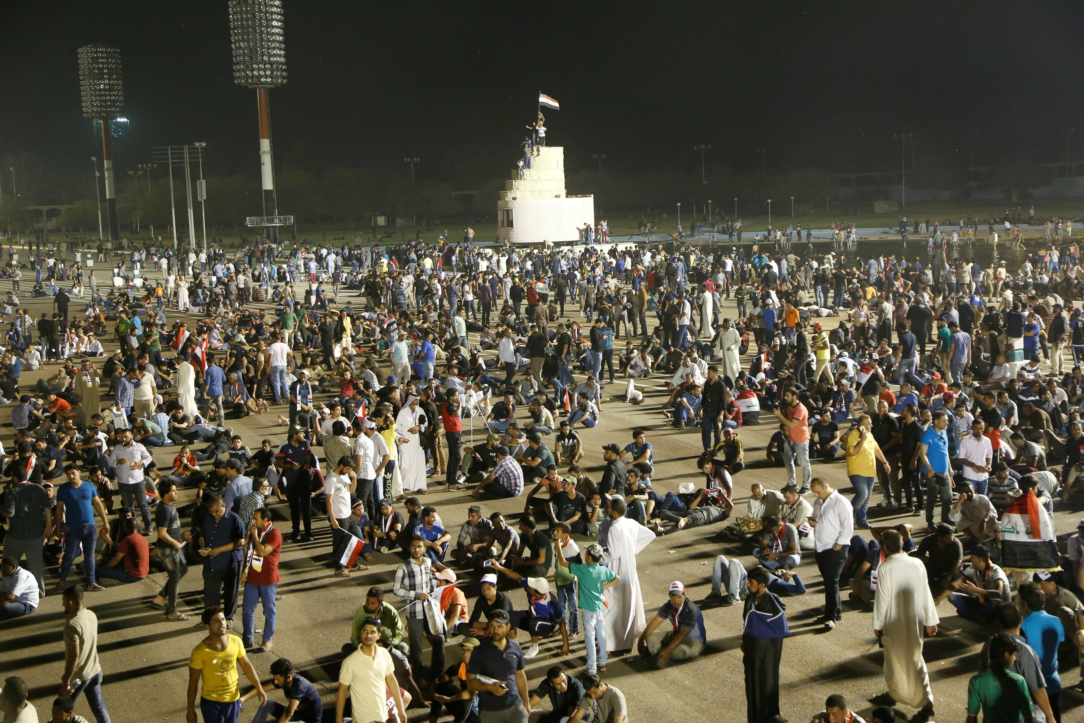 Followers of Iraq's Shi'ite cleric Moqtada al-Sadr hold a sit-in at Grand Festivities Square in Baghdad, in Iraq April 30, 2016. REUTERS/Wissm al-Okili
