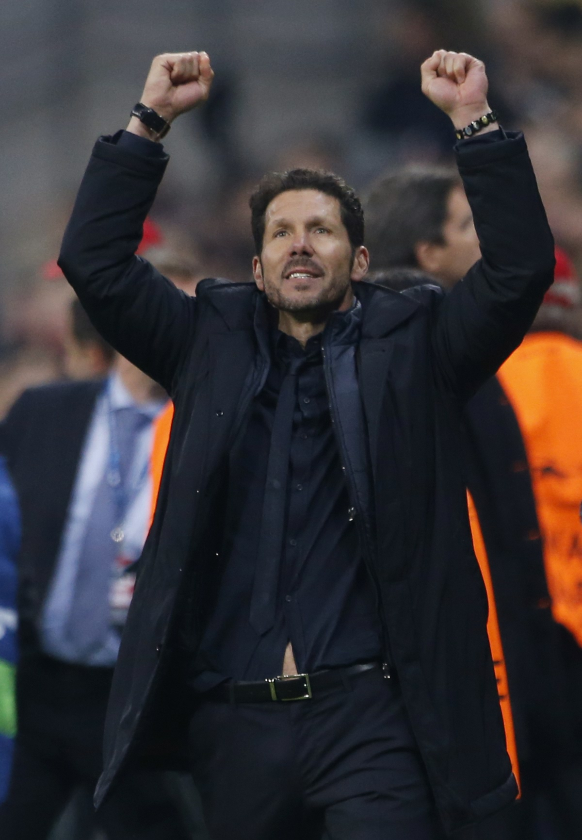 Britain Football Soccer - Bayern Munich v Atletico Madrid - UEFA Champions League Semi Final Second Leg - Allianz Arena, Munich - 3/5/16 Atletico Madrid coach Diego Simeone celebrates after the game Reuters / Michaela Rehle Livepic EDITORIAL USE ONLY.