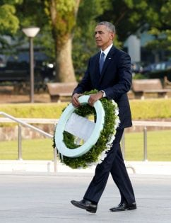 U.S. President Barack Obama in front of a cenotaph at Hiroshima Peace Memorial Park in Hiroshima, Japan May 27, 2016. REUTERS/Toru Hanai
