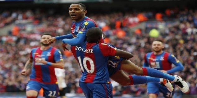 "Britain Football Soccer - Crystal Palace v Manchester United - FA Cup Final - Wembley Stadium - 21/5/16 Crystal Palace's Jason Puncheon celebrates scoring their first goal with Yannick Bolasie Action Images via Reuters / John Sibley Livepic EDITORIAL USE ONLY. No use with unauthorized audio, video, data, fixture lists, club/league logos or ""live"" services. Online in-match use limited to 45 images, no video emulation. No use in betting, games or single club/league/player publications. Please contact your account representative for further details."