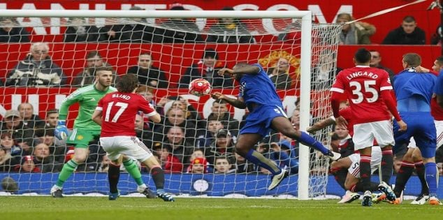 "Britain Football Soccer - Manchester United v Leicester City - Barclays Premier League - Old Trafford - 1/5/16 Wes Morgan scores the first goal for Leicester Action Images via Reuters / Jason Cairnduff Livepic EDITORIAL USE ONLY. No use with unauthorized audio, video, data, fixture lists, club/league logos or ""live"" services. Online in-match use limited to 45 images, no video emulation. No use in betting, games or single club/league/player publications. Please contact your account representative for further details."