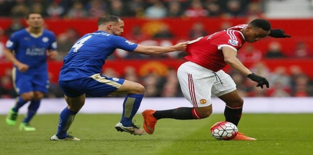 "Britain Football Soccer - Manchester United v Leicester City - Barclays Premier League - Old Trafford - 1/5/16 Leicester City's Danny Drinkwater in action with Manchester United's Anthony Martial Action Images via Reuters / Jason Cairnduff Livepic EDITORIAL USE ONLY. No use with unauthorized audio, video, data, fixture lists, club/league logos or ""live"" services. Online in-match use limited to 45 images, no video emulation. No use in betting, games or single club/league/player publications. Please contact your account representative for further details."