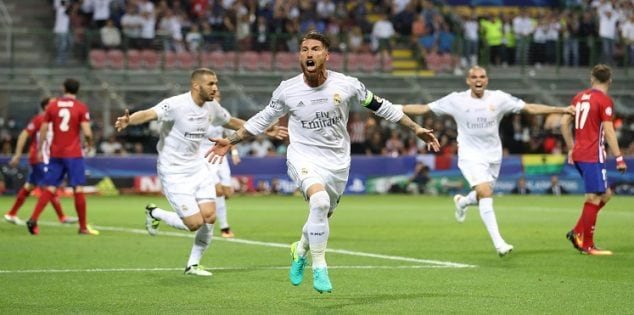 Soccer Football - Atletico Madrid v Real Madrid - UEFA Champions League Final - San Siro Stadium, Milan, Italy - 28/5/16 Sergio Ramos celebrates scoring the first goal for Real Madrid Action Images via Reuters / Carl Recine Livepic EDITORIAL USE ONLY.