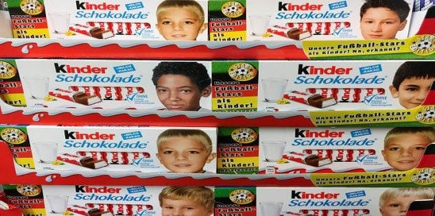 Images of German soccer players in their childhood are printed on Ferrero chocolate bar boxes in Berlin, Germany, May 25, 2016. The text on the left side of boxes reads 'Our soccer stars in childhood. So, recognised?' REUTERS/Hannibal Hanschke