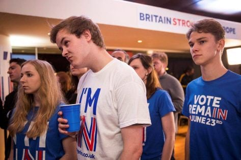 Supporters of the Stronger In Campaign react after heading the result from Orkney in the EU referendum at the Royal Festival Hall, in London, Britain June 24, 2016. REUTERS/Rob Stothard/Pool TPX IMAGES OF THE DAY