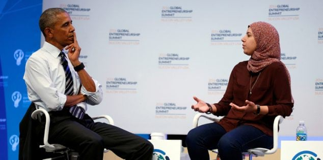 U.S. President Barack Obama talks with Mai Medhat as he takes part in a discussion with Mark Zuckerberg and entrepreneurs at the Global Entrepreneurship Summit at Stanford University in Palo Alto