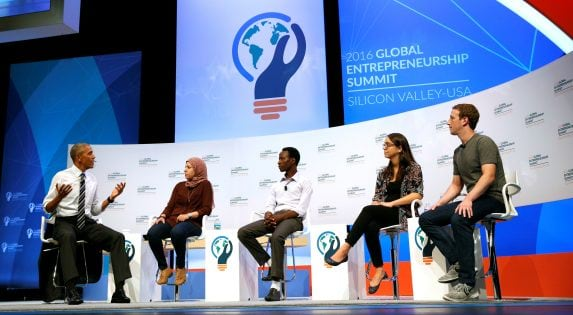 U.S. President Barack Obama takes part in a discussion with Mark Zuckerberg and entrepreneurs at the Global Entrepreneurship Summit at Stanford University in Palo Alto
