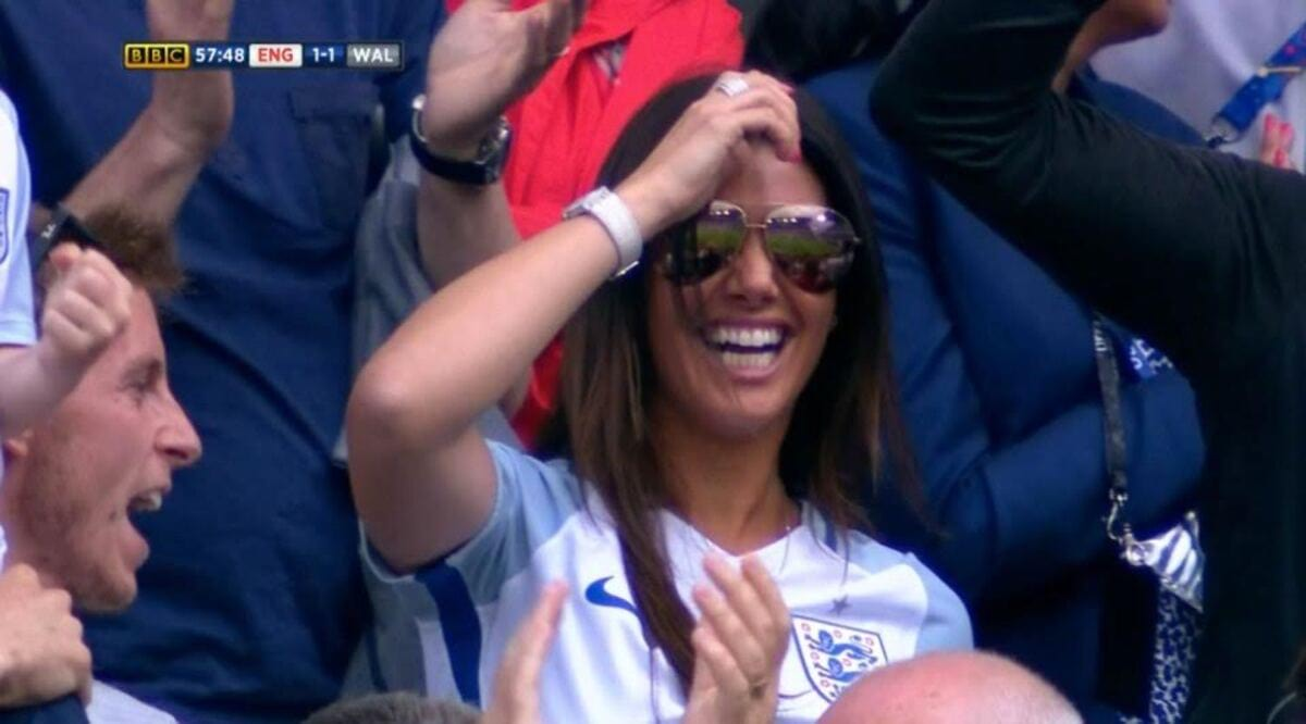 ****Ruckas Videograbs**** (01322) 861777 *IMPORTANT* Please credit BBC for this picture. 16/06/16 European Football Championship England v Wales Rebekah Vardy as her husband scores Office (UK) : 01322 861777 Mobile (UK) : 07742 164 106 **IMPORTANT - PLEASE READ** The video grabs supplied by Ruckas Pictures always remain the copyright of the programme makers, we provide a service to purely capture and supply the images to the client, securing the copyright of the images will always remain the responsibility of the publisher at all times. Standard terms, conditions & minimum fees apply to our videograbs unless varied by agreement prior to publication.