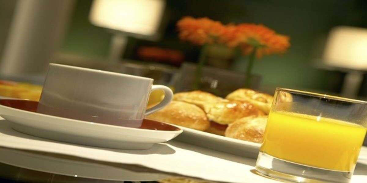 Breakfast for one person in a Hotel interior