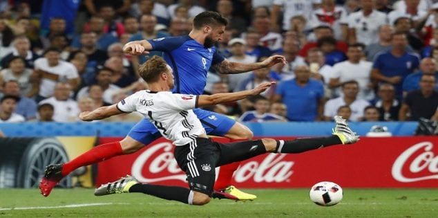 Football Soccer - Germany v France - EURO 2016 - Semi Final - Stade Velodrome, Marseille, France - 7/7/16 France's Olivier Giroud in action with Germany's Benedikt Howedes REUTERS/Michael Dalder Livepic