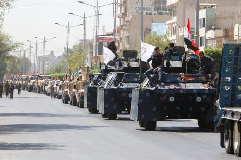Iraqi security forces vehicles take part in a military parade in the streets of Baghdad, Iraq July 12, 2016. REUTERS/Khalid al Mousily