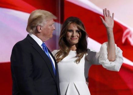 Melania Trump stands with her husband Republican U.S. presidential candidate Donald Trump at the Republican National Convention in Cleveland, Ohio, U.S. July 18, 2016. REUTERS/Mark Kauzlarich