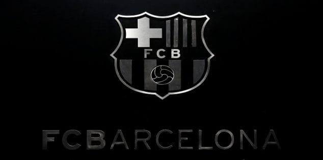 FC Barcelona's logo is seen while President Josep Maria Bartomeu attends a news conference to assess the season 2015/16 in Barcelona, Spain, June 30, 2016.  REUTERS/Albert Gea