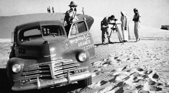 ARAMCO (Arab-American Oil Co.) adds another stretch to the company's thousand of miles of pipelines in Saudi Arabia in 1951. This section will carry oil from the wells to refineries. (AP Photo)