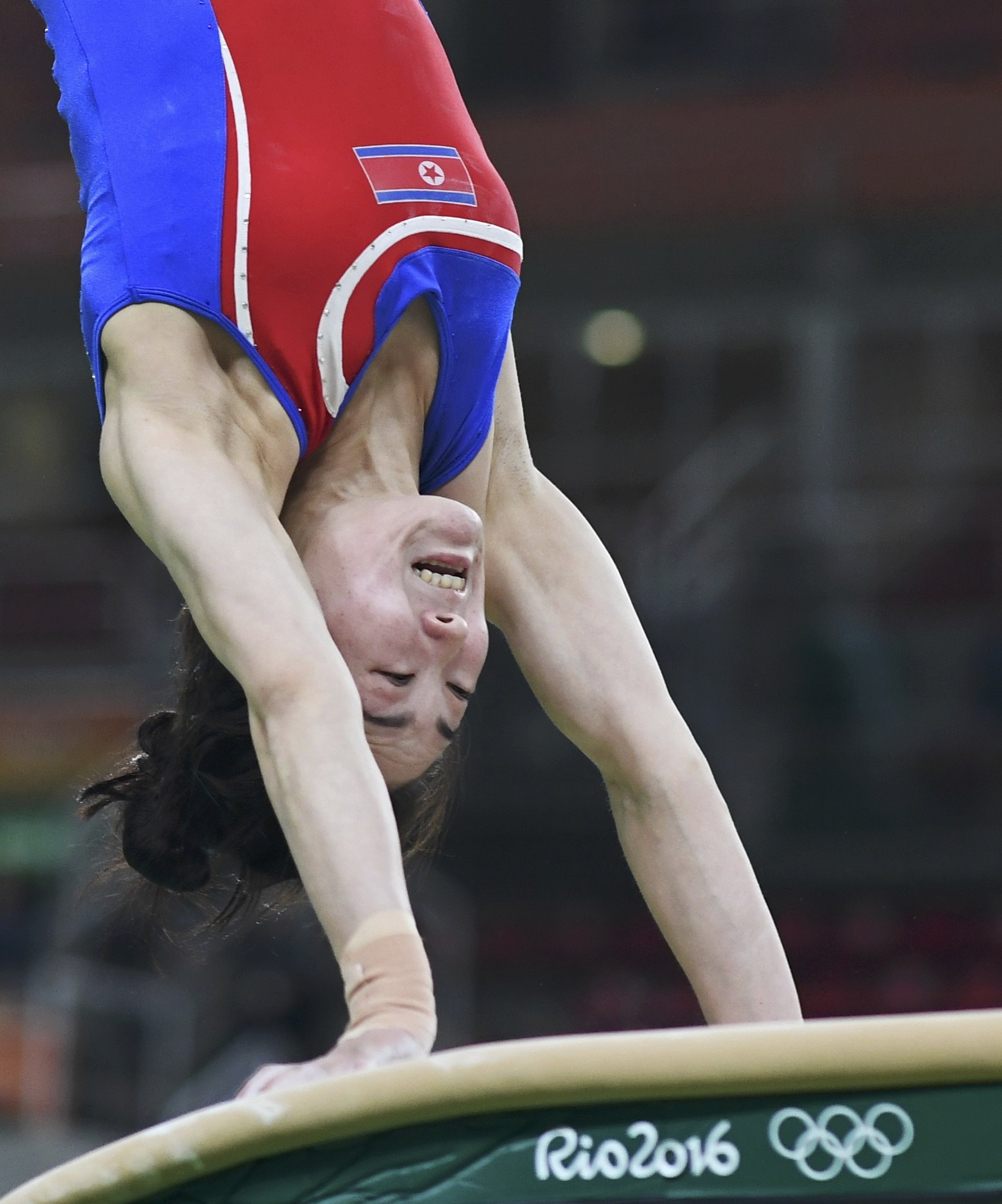 2016 Rio Olympics - Gymnastics training - Rio Olympic Arena - Rio de Janeiro, Brazil - 04/08/2016. Hong Un Jong (PRK) of North Korea trains on the vault. REUTERS/Dylan Martinez FOR EDITORIAL USE ONLY. NOT FOR SALE FOR MARKETING OR ADVERTISING CAMPAIGNS.