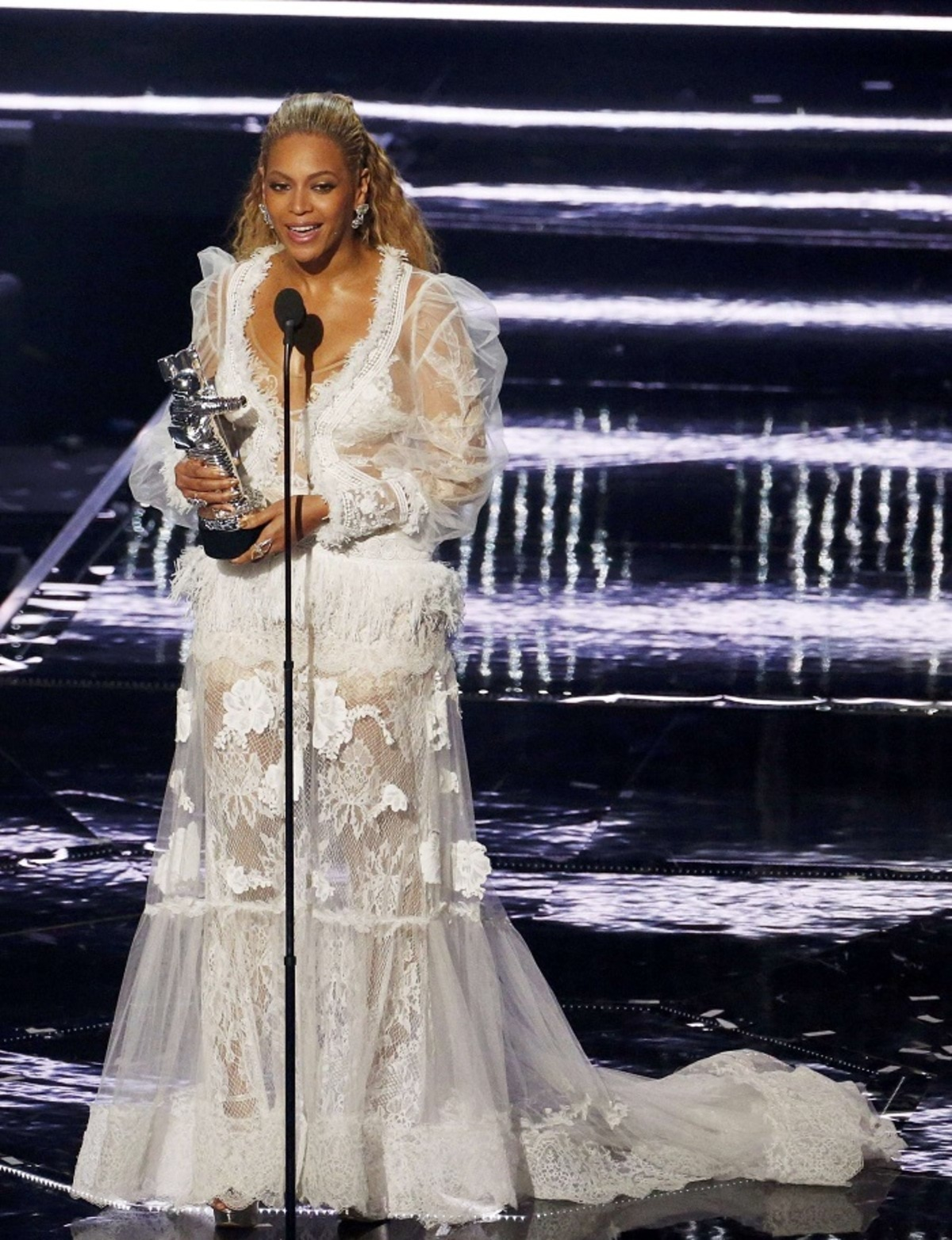 Beyonce accepts her award during the 2016 MTV Video Music Awards in New York