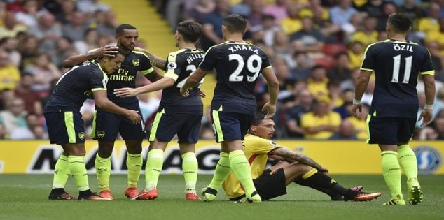 """Football Soccer Britain - Watford v Arsenal - Premier League - Vicarage Road - 27/8/16 Arsenal's Alexis Sanchez celebrates scoring their second goal with team mates Reuters / Hannah McKay Livepic EDITORIAL USE ONLY. No use with unauthorized audio, video, data, fixture lists, club/league logos or """"live"""" services. Online in-match use limited to 45 images, no video emulation. No use in betting, games or single club/league/player publications. Please contact your account representative for further details."""