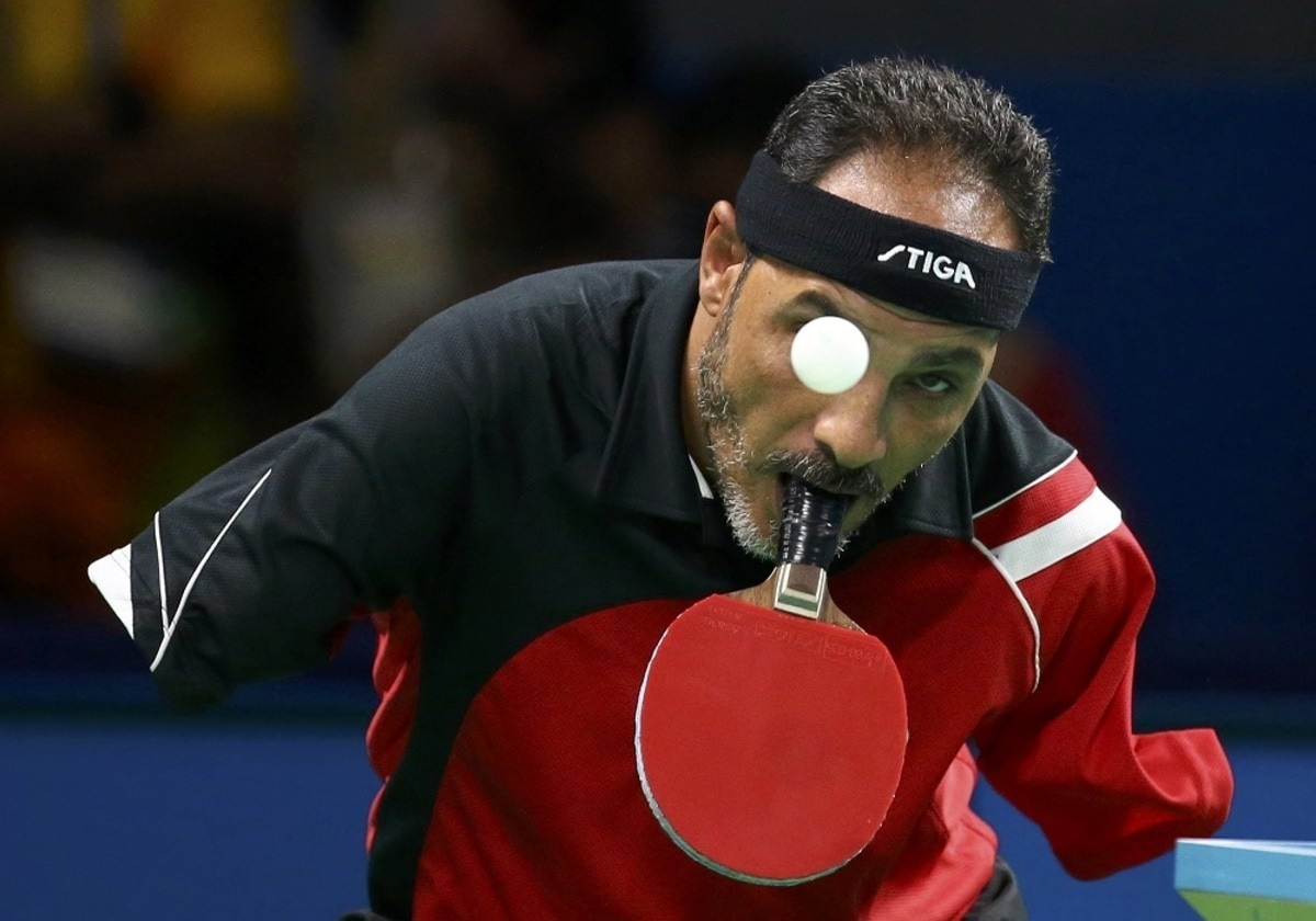 2016 Rio Paralympics - Table Tennis - Men's Singles Class 6 Group D - Riocentro Pavillion 3 - Rio de Janeiro, Brazil - 09/09/2016. Ibrahim Hamadtou (EGY) of Egypt competes. REUTERS/Pilar OLivares TPX IMAGES OF THE DAY FOR EDITORIAL USE ONLY. NOT FOR SALE OR MARKETING OR ADVERTISING CAMPAIGNS.