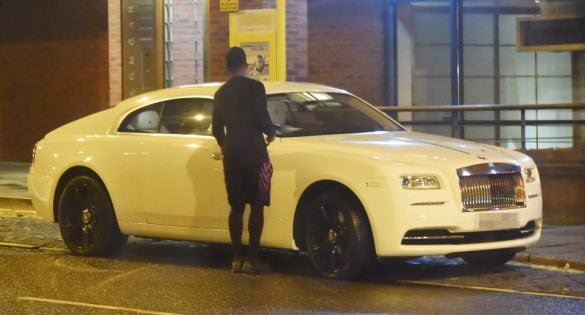 Daniel Sturridge parks his £200k Rolls Royce in a bus stop while getting a worker from il Forno restaurant to carry his takeaway out for him