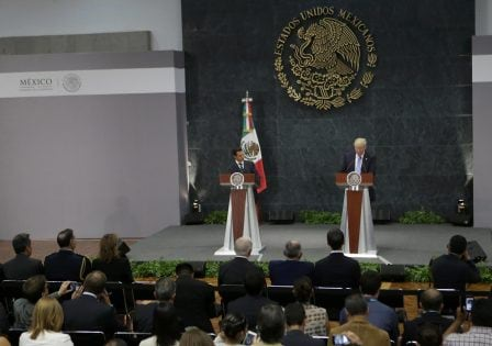 U.S. Republican presidential nominee Donald Trump and Mexico's President Enrique Pena Nieto give a press conference at the Los Pinos residence in Mexico City, Mexico, August 31, 2016. REUTERS/Henry Romero