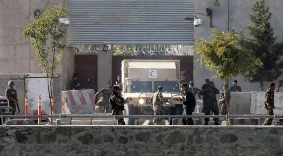 Afghan security forces inspect at the site of a suicide attack in Kabul, Afghanistan September 5, 2016. REUTERS/Mohammad Ismail