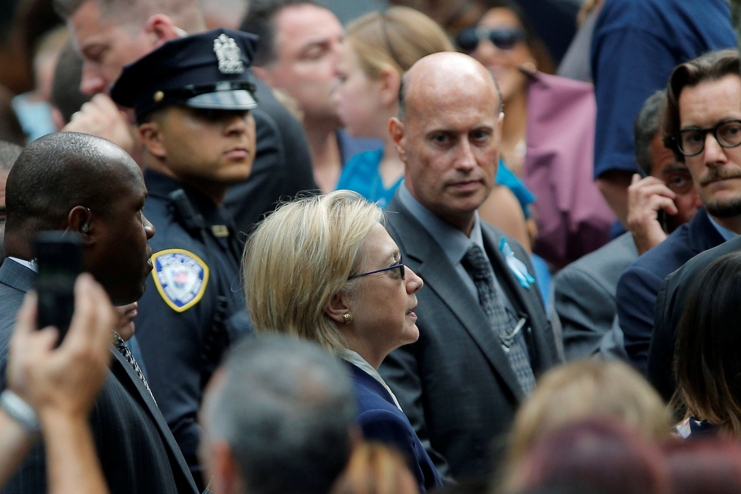 U.S. Democratic presidential candidate Hillary Clinton attends ceremonies to mark the 15th anniversary of the September 11 attacks at the National 9/11 Memorial in New York, New York, United States September 11, 2016. REUTERS/Brian Snyder