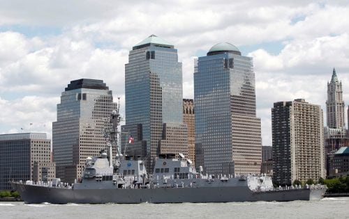 USS Mason sails past lower Manhattan to kick off Fleet Week in New York Harbor