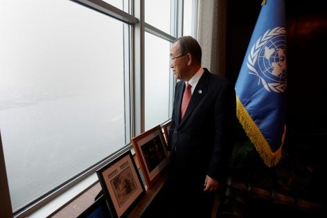 United Nations Secretary General Ban Ki-moon looks out his window as he poses for a portrait in his office at United Nations Headquarters in the Manhattan borough of New York, New York, U.S., October 21, 2016. REUTERS/Carlo Allegri