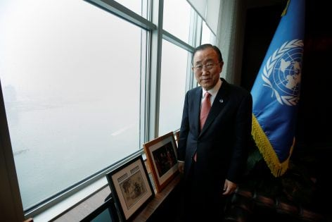 United Nations Secretary General Ban Ki-moon stands by his window as he poses for a portrait in his office at United Nations Headquarters in the Manhattan borough of New York, New York, U.S., October 21, 2016. REUTERS/Carlo Allegri